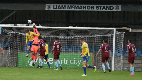 Cobh Ramblers goalkeeper Sean Barron against Longford Town. Picture: Larry Cummins
