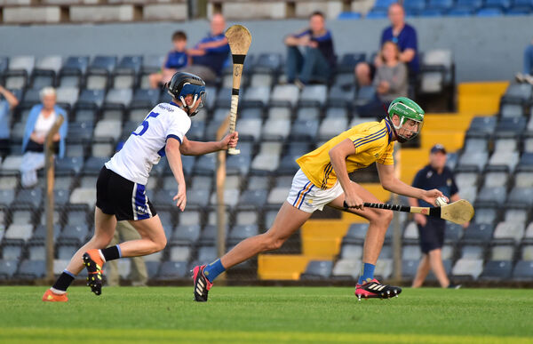 Ben Cunningham, St Finbarr's, breaking past Jake Bowen, Sarsfields in the Rebel Óg P1 Hurling final. The Barrs forward is eligible for the Cork minors this season. Picture: Dan Linehan