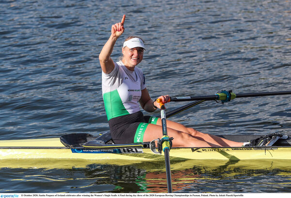 Sanita Puspure of Ireland celebrates after winning the Women's Single Sculls A final of the 2020 European Rowing Championships in Poznan, Poland. Picture: Jakub Piaseki/Sportsfile