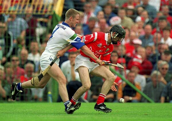 Ben O'Connor battling Brian Flannery of Waterford in 1999. Picture: Ray McManus/Sportsfile