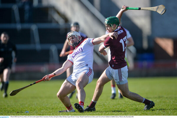 Sean O'Leary-Hayes of Cork in action against Brian Concannon of Galway during the league. Picture: Ray Ryan/Sportsfile