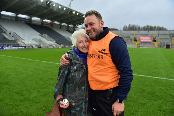 Blackrock manager Fergal Ryan with his mother after their victory. Picture: Dan Linehan