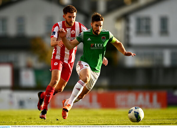 Gearóid Morrissey of Cork City in action against Lewis Banks of Sligo Rovers. Picture: Harry Murphy/Sportsfile