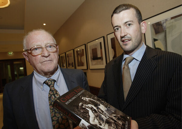 Paddy Hogan, who played with Christy Ring in the 1938 All-Ireland winning minor team, and Donal Óg Cusack at the launch of 'Christy Ring: Hurling's Greatest' by Tim Horgan.