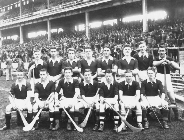 The 1938 Cork minor hurling team. Back: Tadhg Ryan; Ted Foley; Eamonn Young; George Sadlier; Alan Lotty; Paddy Hogan; Luke O'Sullivan; Ted O'Sullivan. Front: Christy Ring; Killian O'Keeffe; Jerry Looney; Kevin McGrath (c); Jerry O'Mahony; Willie Cummins; Paddy Joe Quinn.
