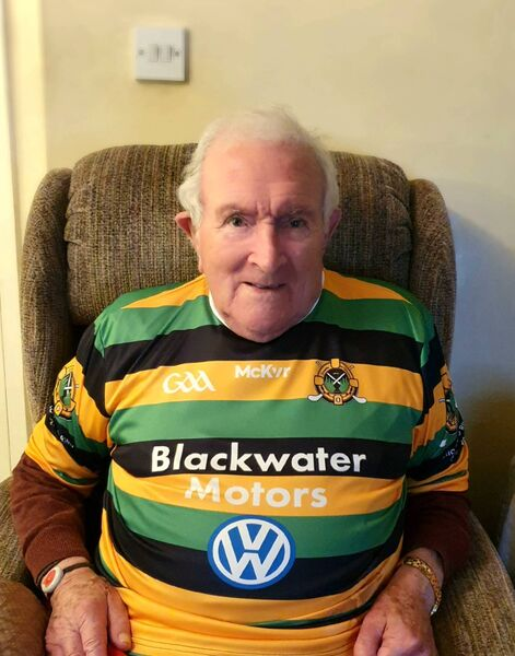Eddie Hogan with his Glen Rovers jersey commemorating the 100th anniversary of the birth of Christy Ring.