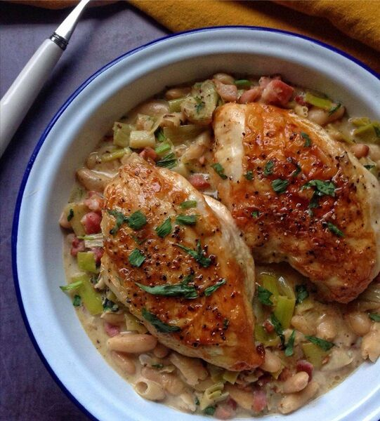 Chícken with Smoked Bacon and Tarragon served with Creamy Cannellini Beans by Karen Coakley