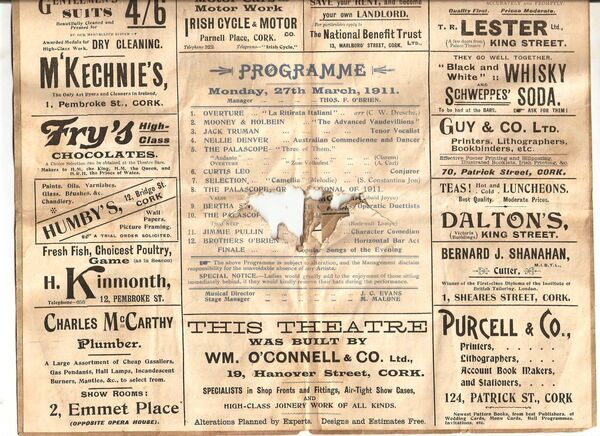 Everyman Palace Theatre programme 1911 found under the floorboards of a house in the city.