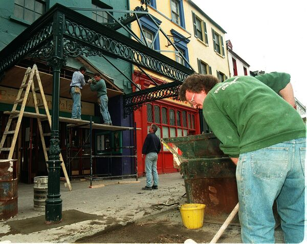 Workmen at work outside The Everyman in 1997. Picture: Mark Kelleher