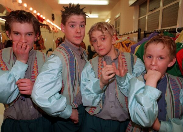 Young members of the cast from the pantomime Mother Goose at the Everyman Palace Theatre, Cork, 1998. Picture: Eddie O'Hare