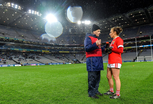Cork manager Ephie Fitzgerald and captain Aisling Hutchings following their side's victory during the Lidl Ladies National Football League Division 1 Round 3 match between Dublin and Cork at Croke Park in Dublin. Photo by Seb Daly/Sportsfile *** NO REPRODUCTION FEE ***