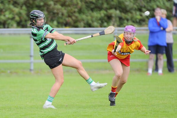 Douglas', Julia White in action against Eire Og's, Aileen Hennessy in the SE Systems Senior Camogie Championship at Castle Road, Blackrock. Pic: Gavin Browne
