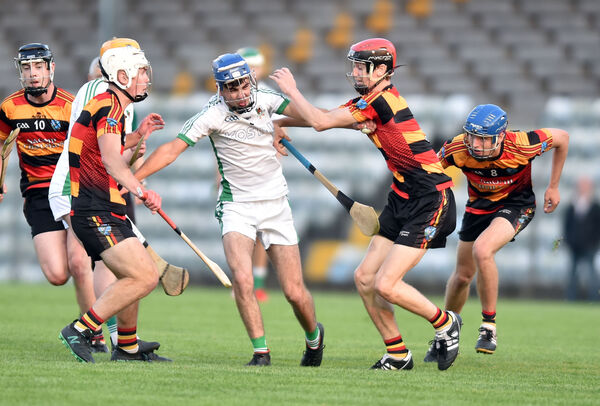 Kanturk's Oisin O'Connor is hounded by St Colman's Adam O'Lomasney and Éanna Motherway. Picture: Eddie O'Hare