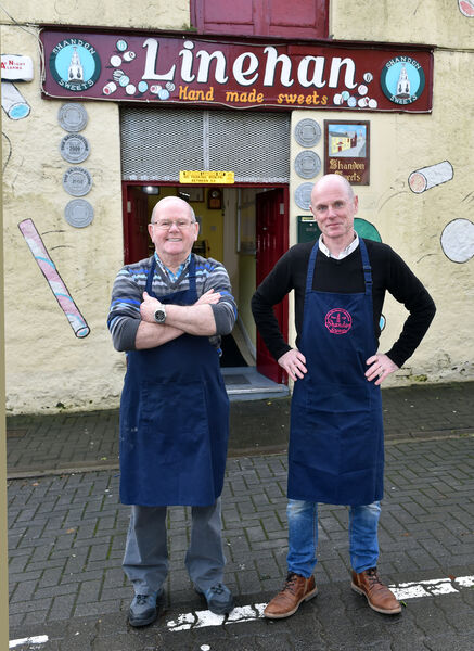 Tony Linehan, and his father Dan of Linehan Sweets (Shandon Sweets) on John Redmond Street. Picture: Eddie O'Hare