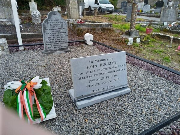 A new headstone in Lisgoold cemetery to John (Sean) Buckley who was killed 100 years ago, Aug 27 1920.