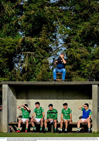 The Neale club Chairman Declan Hughes records a game in Cong, Mayo. Picture: Brendan Moran/Sportsfile