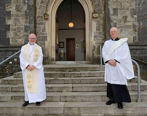 Pictured are, the Right Rev. Dr. Richard Clarke, former Archbishop of Armagh and Patrick Culleton, newly ordained Deacon, at The Ordination of Deacons by the Right Rev. Dr. Richard Clarke, at the request of The Bishop of Cork Cloyne and Ross, at Saint Peter's Church, Bandon, Co. Cork. Picture: Jim Coughlan.