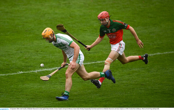 Colin Fennelly of Ballyhale Shamrocks in action against Shane Donohoe of James Stephens. Picture: David Fitzgerald/Sportsfile