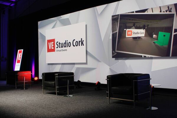 VE Studio Cork is a virtual event space which will enable people to experience the atmosphere they would expect from physically attending a conference, corporate event, awards ceremony or product launch, all from the safety of their own work or home space.