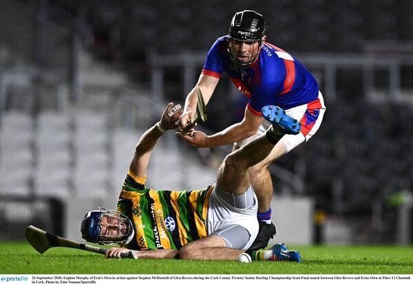 Eoghan Murphy of Erin's Own in action against Stephen McDonnell of Glen Rovers. Picture: Eóin Noonan/Sportsfile