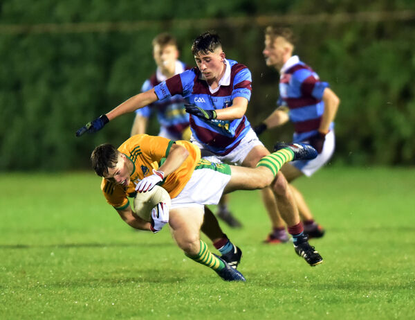 Glanmire's Cathal Mcarthy wins the ball from Ibane Gaels' Michael Walsh during the Rebel Óg P1 semi-final at Clonakilty. Picture: Eddie O'Hare