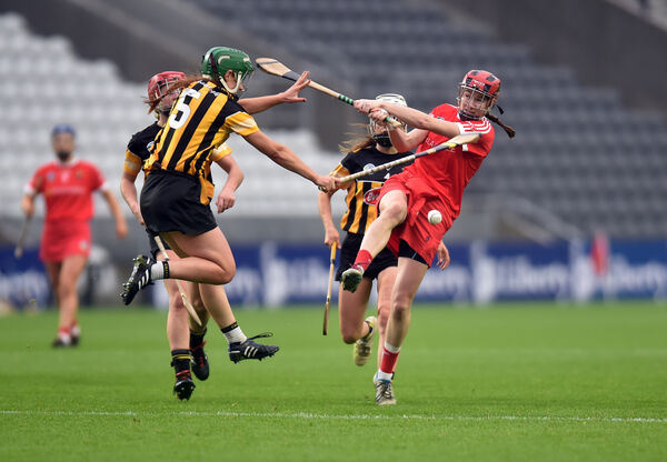 Katrina Mackey has her shot blocked down by Kilkenny's Collette Dormer. Picture: Eddie O'Hare