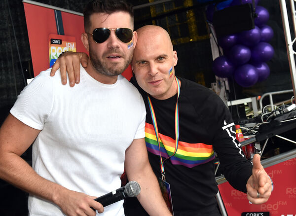 REDFM's Colm O'Sullivan and Stevie G at the Cork Pride Parade .