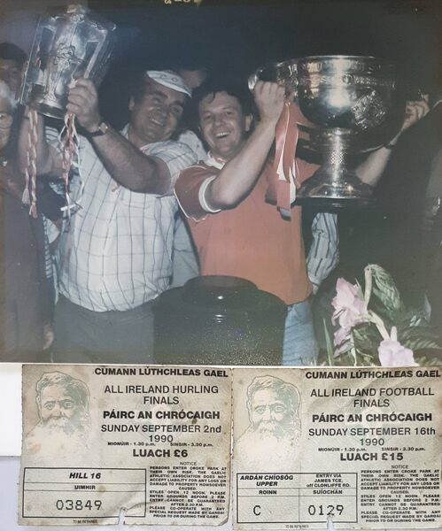 Andy O'Keeffe and Liam O'Connell from Ballyphehane pictured at the Burlington Hotel on September 16th 1990 celebrating Cork's hurling and football All-Ireland winning double success.