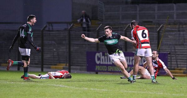 Mark Cronin, Nemo, celebrates his goal for Nemo against Ballincollig last weekend. Picture: Jim Coughlan.