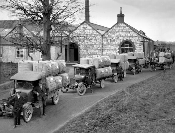 A consignment of wool destined for New York departs St Patrick's Woollen Mills, Douglas in 1929.