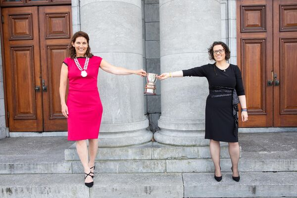 2020 Network Ireland Cork Businesswoman of the Year winner Linda O'Connell of the Society of St. Vincent de Paul Ireland with Network Ireland Cork's president, Marguerite O'Sullivan. Linda, who was announced the 2020 overall winner on 28 August at a virtual awards ceremony, also won in the Transformative Employee category. Picture Darragh Kane