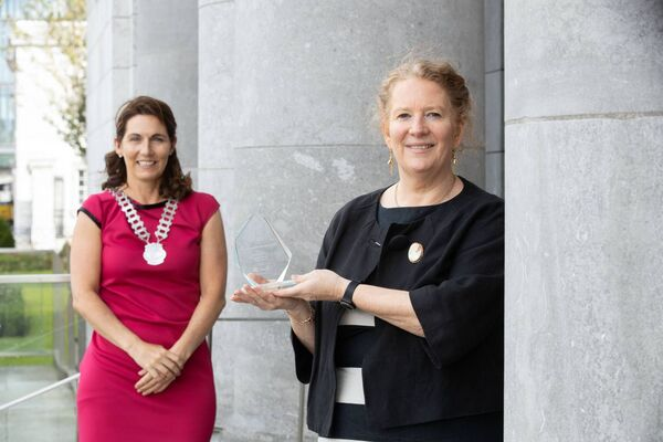 Network Ireland Cork's president, Marguerite O'Sullivan with Winner of the Solo Businesswoman Maeve Lankford, Kaleidoscope Coaching and Facilitation . Picture Darragh Kane