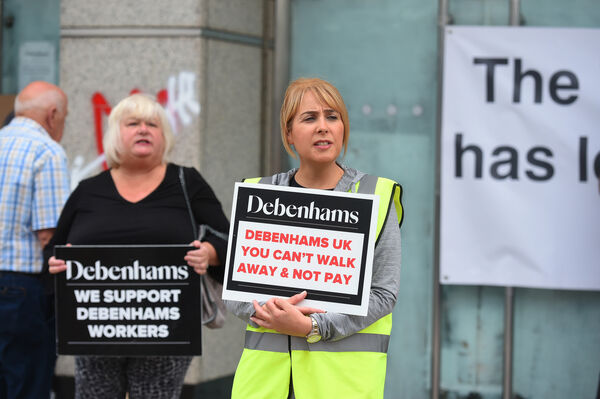 Former Debenhams workers and supporters staged a rally outside the St Patrick's Street store, Cork City as the sit-in protest continued inside the store.