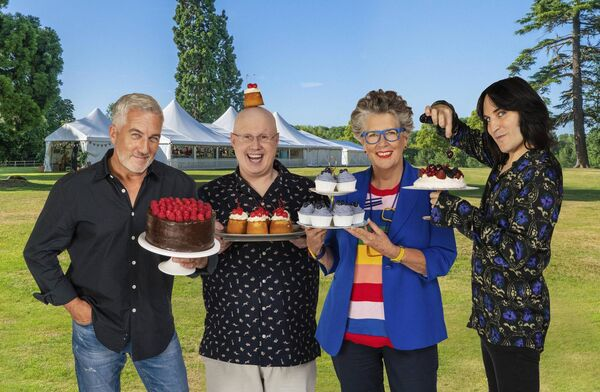 Paul Hollywood, Matt Lucas, Prue Leith and Noel Fielding getting ready for Bake Off.  Picture: PA/ Television/Mark Bourdillon.