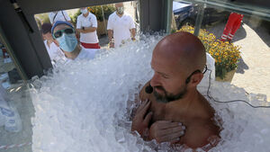 Austrian man spends two-and-a-half hours in box filled with ice cubes