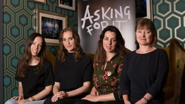 Meadbh McHugh who adapted Asking For It for stage, Author Louise O'Neill, Julie Kelleher, Artistic Director of the Everyman Theatre and Anne Clarke, Landmark Productions.