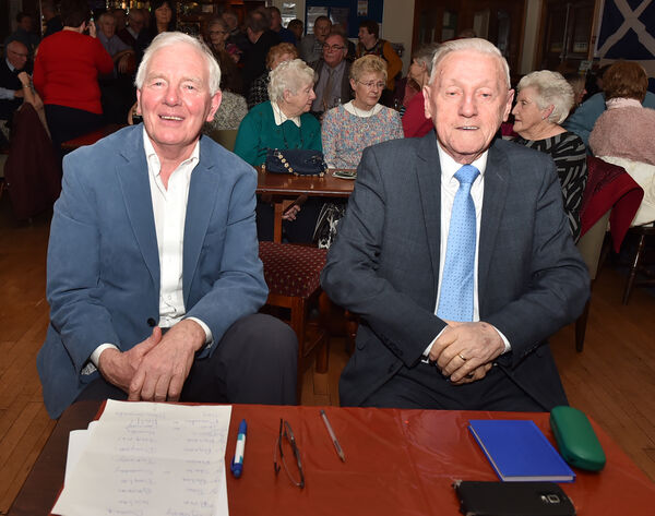 Charlie McAllister and Humphrey O'Sullivan adjudicators at the Douglas heat of the over 60's talent competition in 2019.