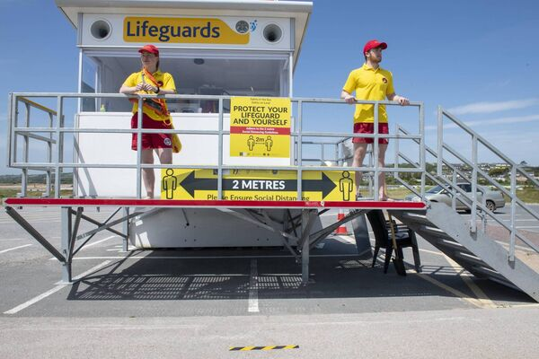 Lifeguards on duty at a Cork beach.