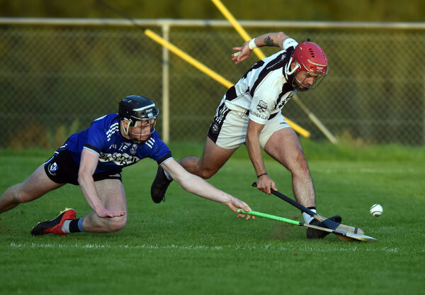 Sarsfields' Jack O'Connor tackles Ballyhea's Kevin Copps. Picture: Eddie O'Hare