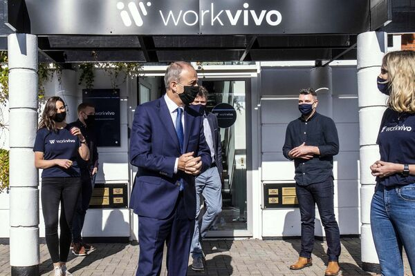Pictured at Workvivo offices in Cork with An Taoiseach Micheal Martin sepaking with Clara Walsh first ever Workvivo employee.