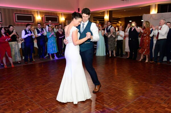ON THE DANCE FLOOR: They celebrated their wedding reception at the Radisson Blu Hotel, Little Island, and had their first dance to 'Happy Together' performed by band The Kelts.