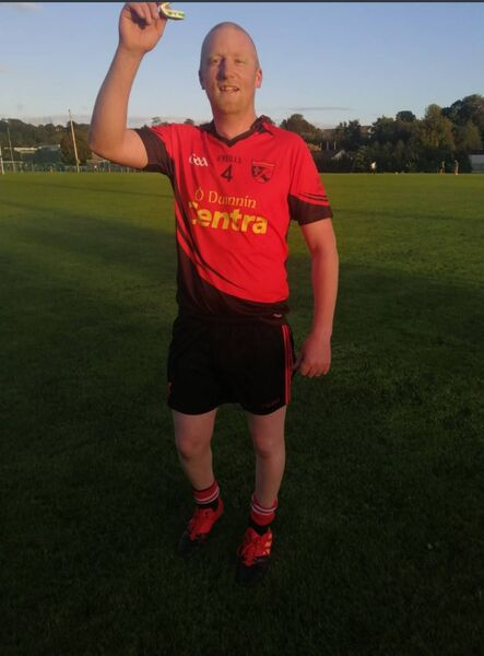 Antóin O Creimin came on for the final fifteen minutes of his side's Junior C challenge game against Douglas. Wearing his beloved club jersey and participating once again in a football game represented a special feeling for the 26-year-old.