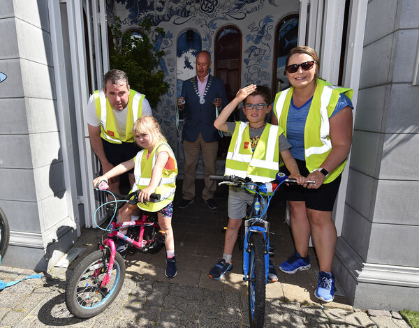 Harry O'Hanlon crossed the finish line on the final leg of his fundraising cycle for autism charities with his sister, Chloe, parents Ricky and Martina at the Blue Haven Hotel, Kinsale, Co Cork. Picture Dan Linehan