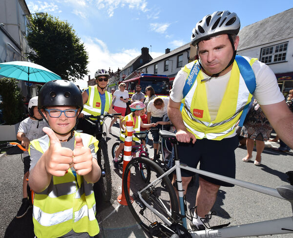 Harry crossed the finish line on the final leg of his  fundraising cycle with his sister, Chloe, parents Ricky and Martina at the Blue Haven Hotel, Kinsale, Co Cork. Picture Dan Linehan