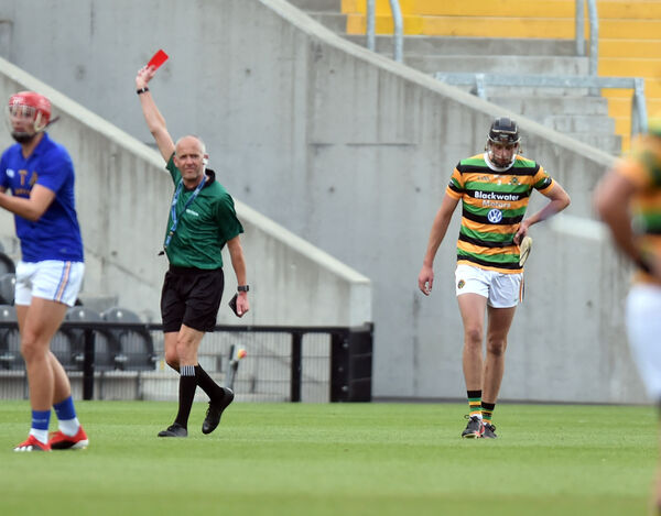 Robert Downey is sent off by referee Cathal McAllister. Picture: Eddie O'Hare