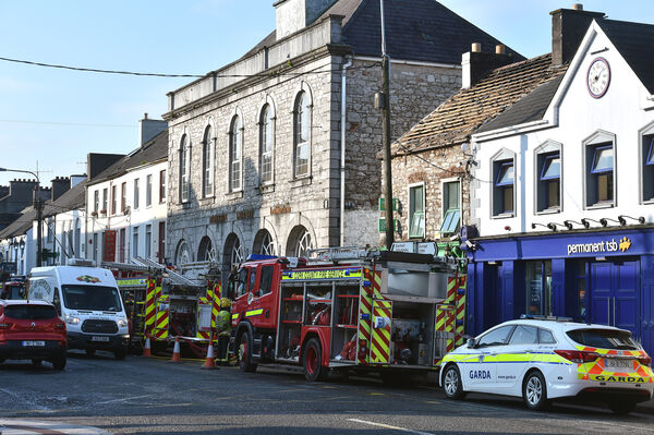 Units of the fire brigade who attended the fire on Main Street, Midleton, Co Cork, which started in the early hours of Wednesday morning left the Post Office gutted. Picture Dan Linehan