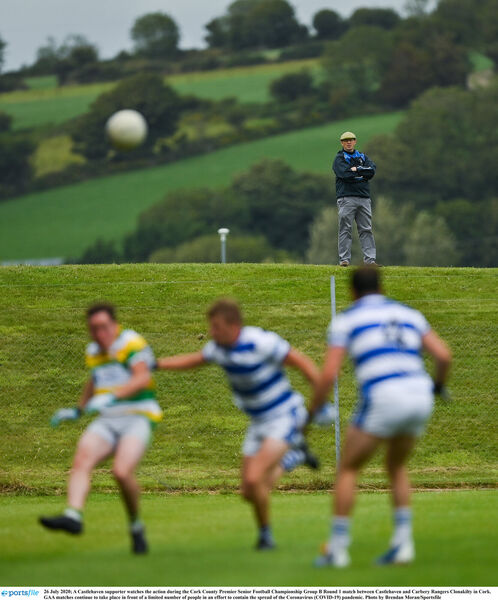 A Castlehaven supporter watches the action last weekend in Clon. Picture: Brendan Moran/Sportsfile