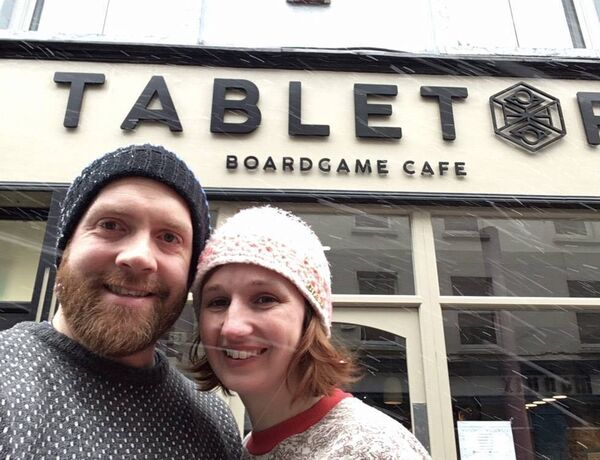 Chris Heinhold and Emma outside the Tabletop Boardgame Cafe Cork