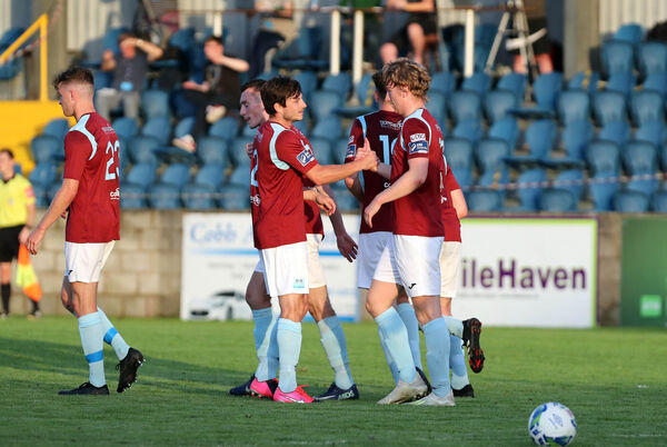 John Kavanagh, Cobh Ramblers Captain, congratulates Dave Hurley, after he opened the scoring against Wexford FC.