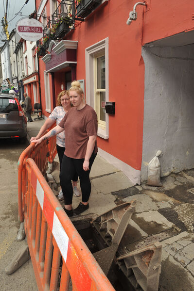 The Eldon Hotel during the cleanup operation.Eileen O'Donovan and daughter Louise. Flood aftermath at Bridge Street, Skibbereen, Co Cork after the overnight flooding on the street during Storm Ellen.Pic; Larry Cummins